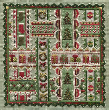 click here to view larger image of Holiday Ribbons (Includes Embellishments) (counted canvas work)