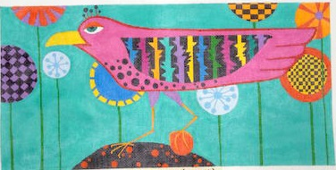 click here to view larger image of Long Bird on Rock (hand painted canvases)