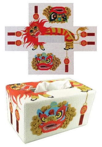 click here to view larger image of Lion Dancer Tissue Topper (hand painted canvases)