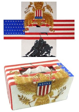 click here to view larger image of Freedom Tissue Topper (hand painted canvases)