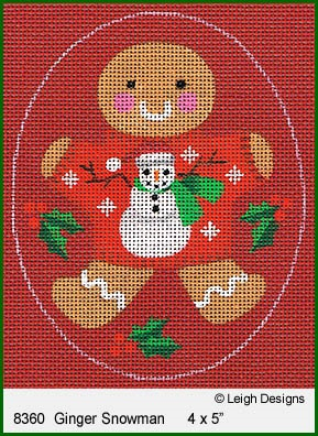 click here to view larger image of Ginger Snowman Ornament (hand painted canvases)