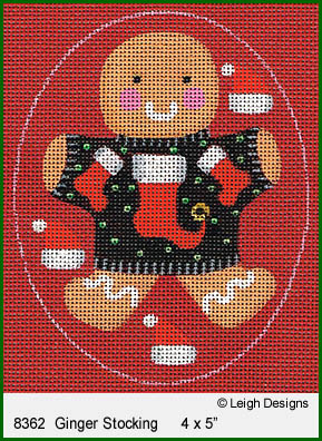 click here to view larger image of Ginger Stocking Ornament (hand painted canvases)