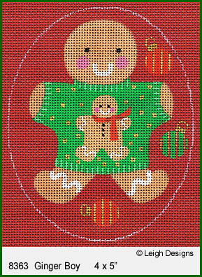 click here to view larger image of Ginger Boy Ornament (hand painted canvases)