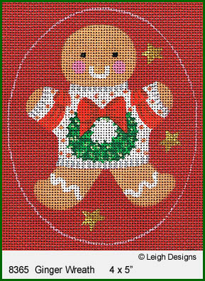 click here to view larger image of Ginger Wreath Ornament (hand painted canvases)