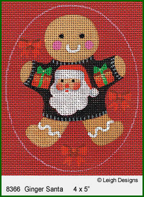 click here to view larger image of Ginger Santa Ornament (hand painted canvases)