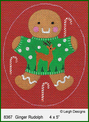 click here to view larger image of Ginger Rudolph Ornament (hand painted canvases)