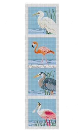 click here to view larger image of Wading Birds Coaster Strip (hand painted canvases)