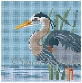 click here to view larger image of Grey Heron Coaster (hand painted canvases)