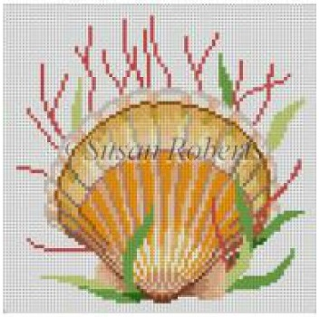 click here to view larger image of Seashell, Sea Scallop (hand painted canvases)