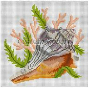 click here to view larger image of Seashell, Lightning Whelk (hand painted canvases)