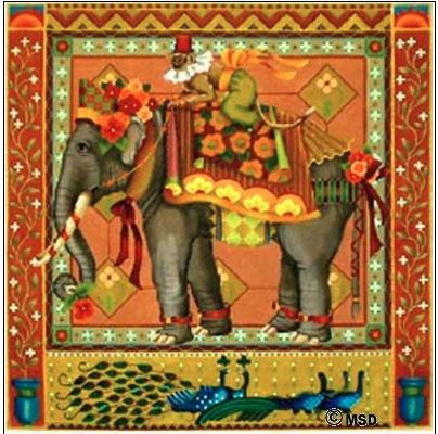 click here to view larger image of Elegant Elephant (hand painted canvases)