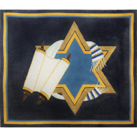 click here to view larger image of Torah and Scrolls With Star (hand painted canvases)