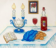 click here to view larger image of Challah Cover on Blue Table (hand painted canvases)