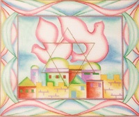 click here to view larger image of Dove Over Jerusalem (hand painted canvases)