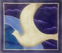 click here to view larger image of Silver Dove on Night Sky (hand painted canvases)