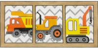 click here to view larger image of Work Truck Squares (hand painted canvases)