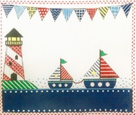 click here to view larger image of Patterned Sailboats (hand painted canvases)
