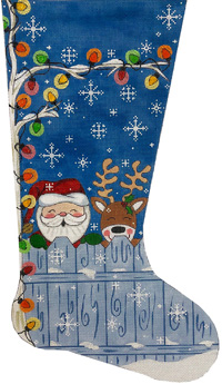 click here to view larger image of Santa & Reindeer Stocking (hand painted canvases)