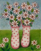 click here to view larger image of Pink Polka Dot Rainboots (hand painted canvases)