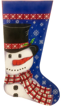 click here to view larger image of Snowman in Scarf Stocking (hand painted canvases)