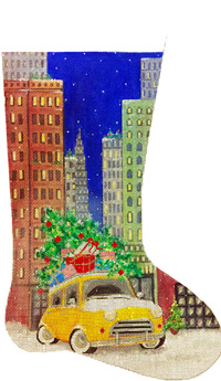 click here to view larger image of Taxi In The City Stocking (hand painted canvases)
