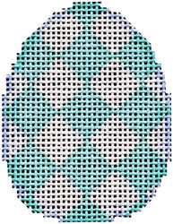 click here to view larger image of Aqua Harlequin Mini Egg (hand painted canvases)
