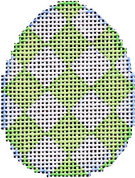 click here to view larger image of Lime Harlequin Mini Egg (hand painted canvases)