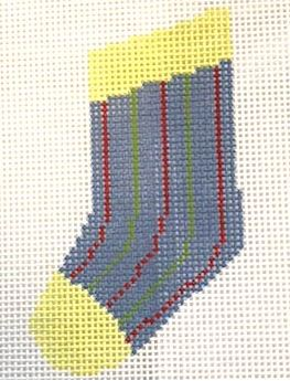 click here to view larger image of Vertical Stripes Mini Sock (hand painted canvases)