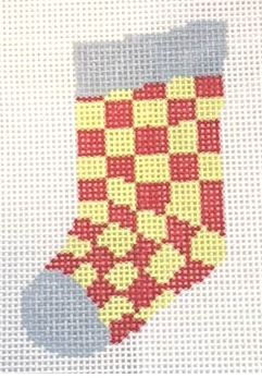 click here to view larger image of Checkerboard Mini Sock (hand painted canvases)