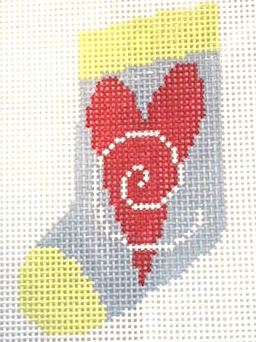 click here to view larger image of Heart Mini Sock (hand painted canvases)
