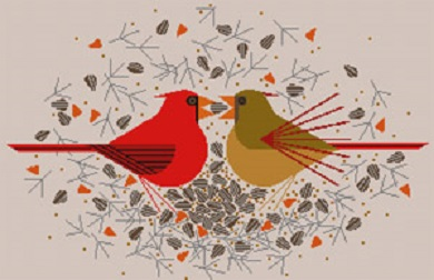 click here to view larger image of Cardinal Courtship (hand painted canvases)