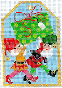 click here to view larger image of Gift Tag - Christmas Elves (hand painted canvases)