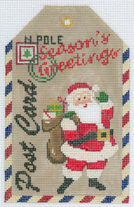 click here to view larger image of Gift Tag - Seasons Greetings Santa (hand painted canvases)