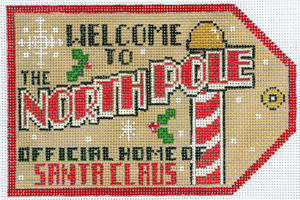 click here to view larger image of Gift Tag - Welcome to the North Pole (hand painted canvases)