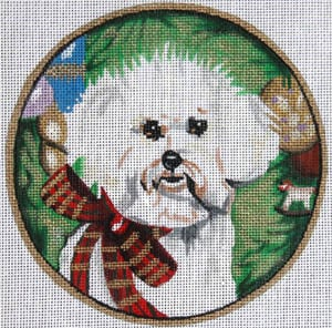 click here to view larger image of Bichon with Bow (hand painted canvases)