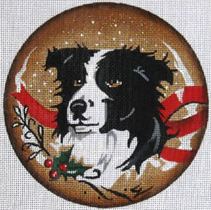 click here to view larger image of Border Collie with Holly (hand painted canvases)