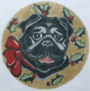 click here to view larger image of Black Pug with Red Bow (hand painted canvases)