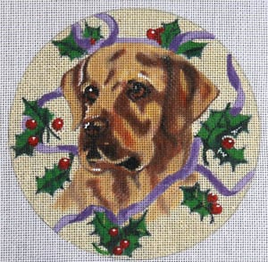 click here to view larger image of Yellow Lab with Holly (hand painted canvases)