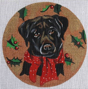 click here to view larger image of Black Lab with Holly (hand painted canvases)