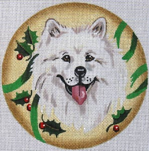 click here to view larger image of Samoyed with Holly (hand painted canvases)