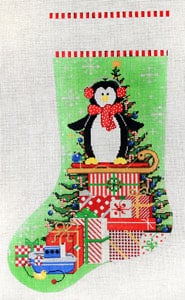 click here to view larger image of Peppermint Peguin Party (hand painted canvases)