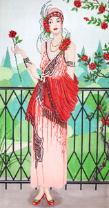 click here to view larger image of Art Deco Rose Garden (hand painted canvases)