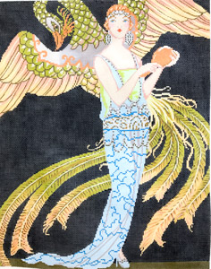 click here to view larger image of Art Deco Lady with Dragon (hand painted canvases)