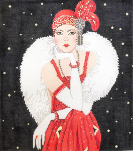 click here to view larger image of Art Deco Lady in Red (hand painted canvases)