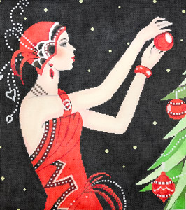 click here to view larger image of Art Deco Lady Christmas (hand painted canvases)