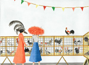 click here to view larger image of A Hen A-Fair (hand painted canvases)