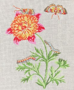 click here to view larger image of Peony with Caterpillars and Butterflies (hand painted canvases)
