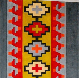 click here to view larger image of Kilim Wave Red, Gray, Dk Gray, Yellow Green (hand painted canvases)