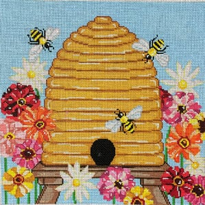 click here to view larger image of Bee Skep with Zinnias (hand painted canvases)