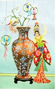 click here to view larger image of Woman with Vase and Parrots (hand painted canvases)